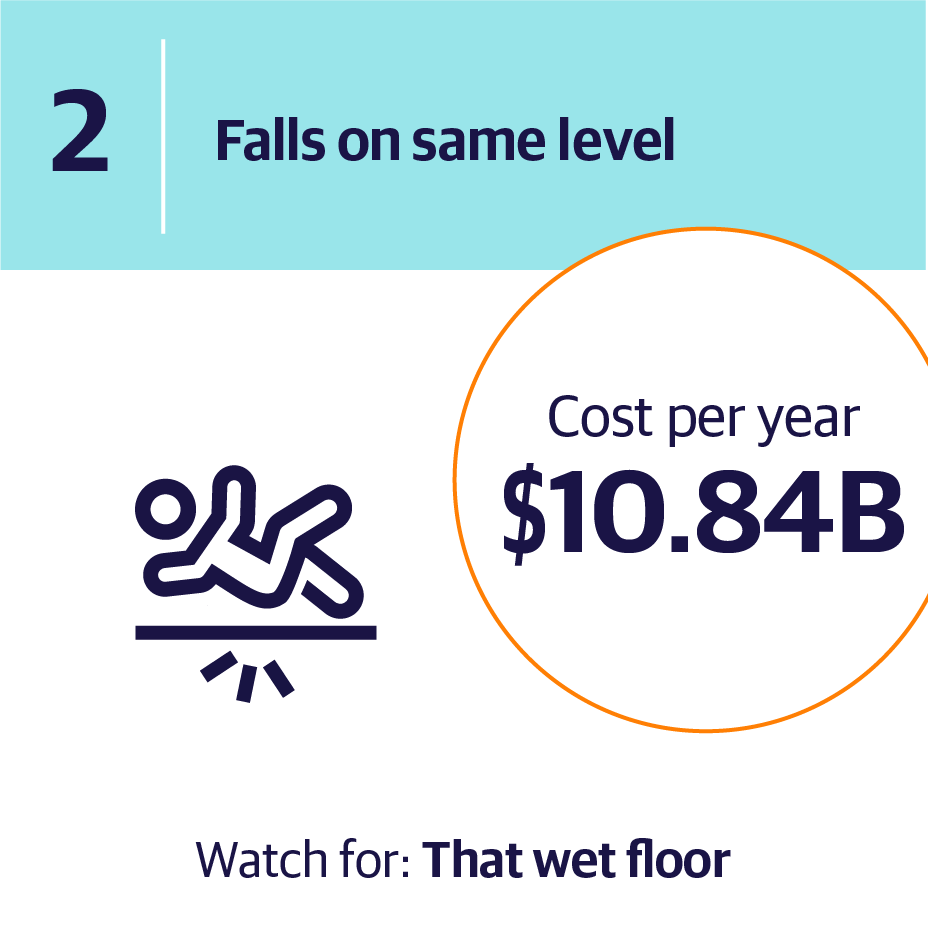2. Falls on same level | Cost per year $10.84B | Watch for: That wet floor