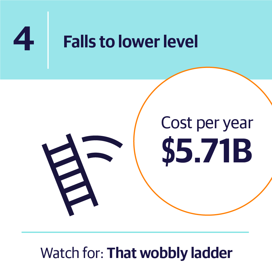 4. Falls to lower level | Cost per year $5.71B | Watch for: That wobbly ladder