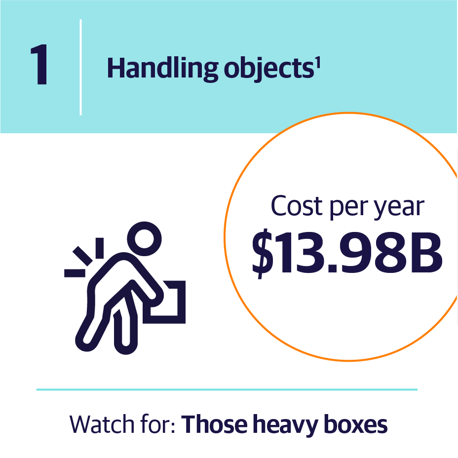 1. Handling objects | Cost per year $13.98B | Watch for: Those heavy boxes